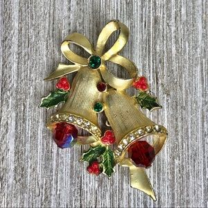 Vintage Holiday Gold Double Bell Bow Christmas Pin